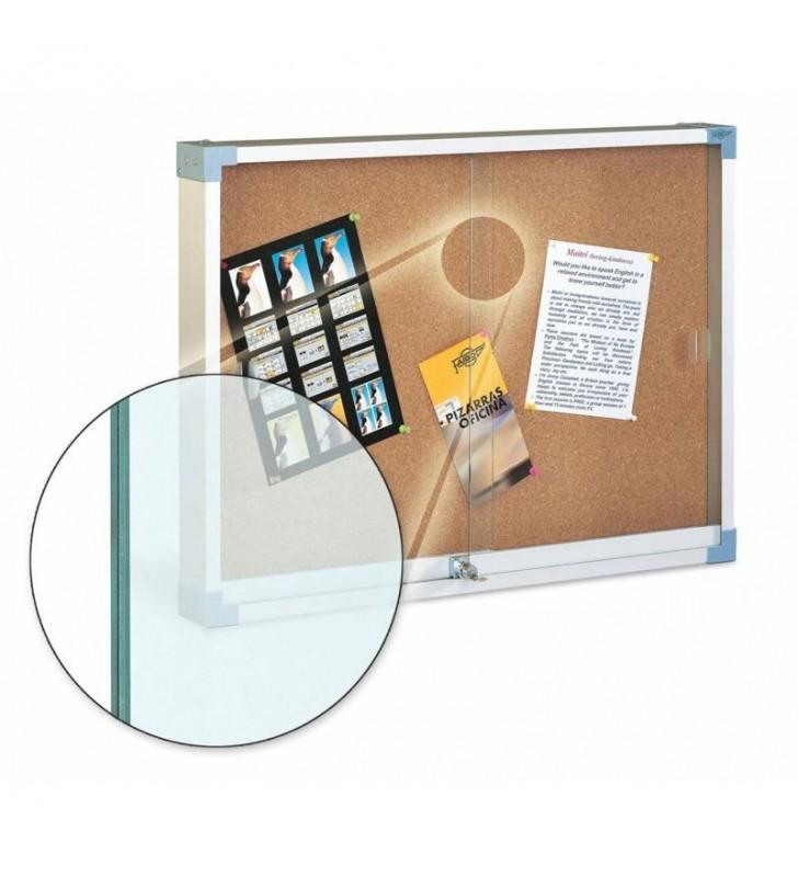 Vitrina superficie de corcho cristal de seguridad 80x100