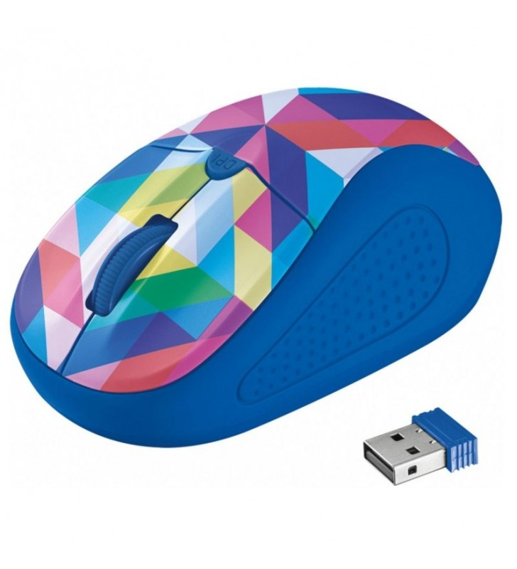 RATÓN INALÁMBRICO TRUST PRIMO BLUE GEOMETRY - ALCANCE 6M - 1000-1600 DPI - MICRO RECEPTOR USB - APTO DIESTROS Y ZURDOS - 2X AAA