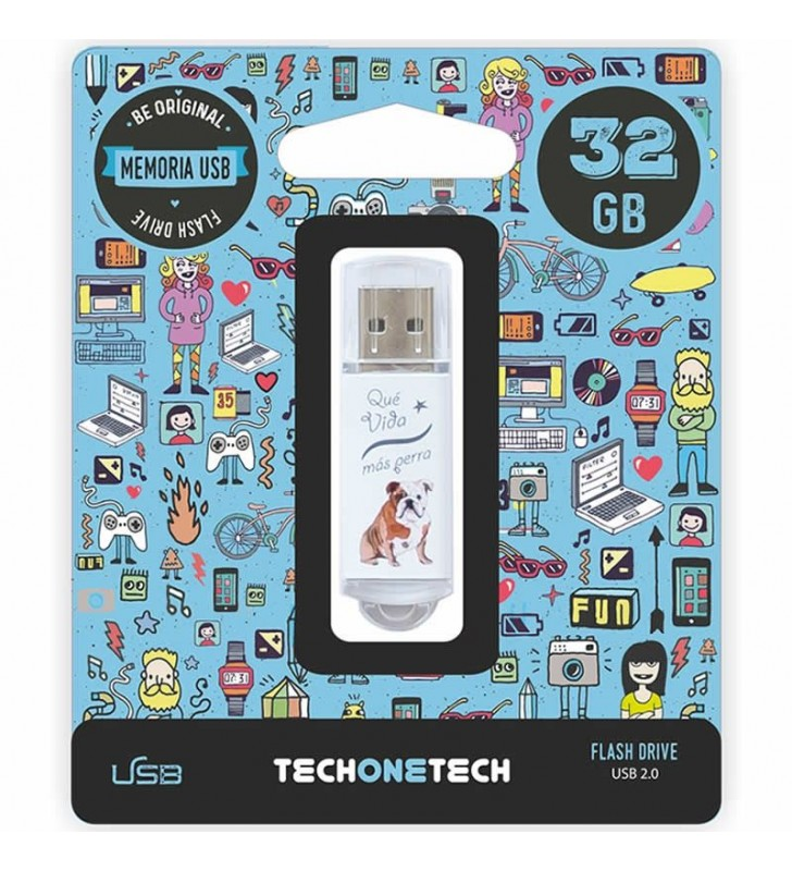 PENDRIVE TECH ONE TECH QUE VIDA MAS PERRA 32GB USB 2.0