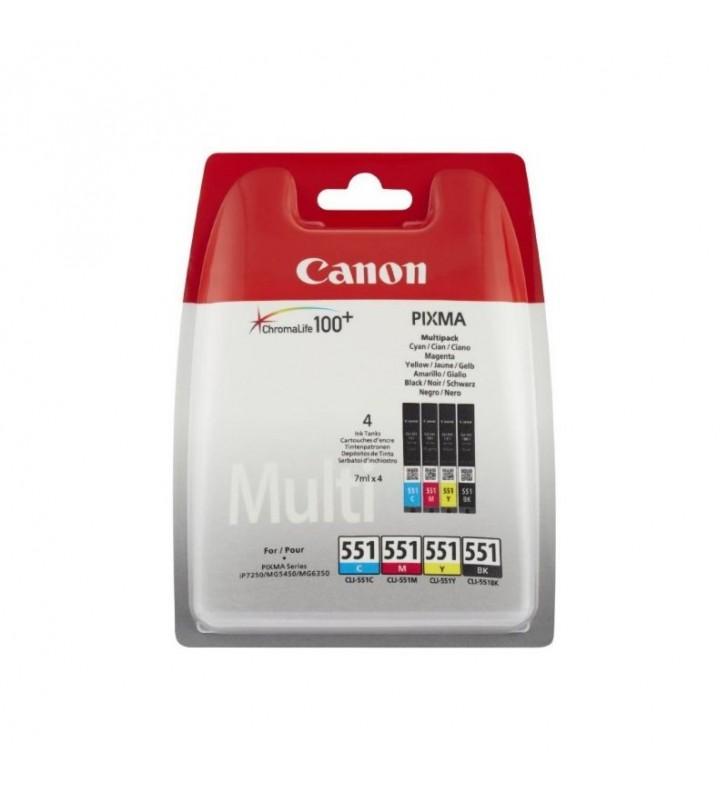 MULTIPACK 4 CARTUCHOS TINTA CANON 551 - CIAN - MAGENTA - AMARILLO - NEGRO - COMPATIBLE CON IP7250/8750/IX6850/MG5450/5550/5650/6