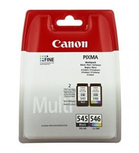 MULTIPACK 2 CARTUCHOS TINTA CANON PG-545 + CL-546 - 180 PÁGINAS C/U - COMPATIBLE CON PIXMA MG2450/MG2550