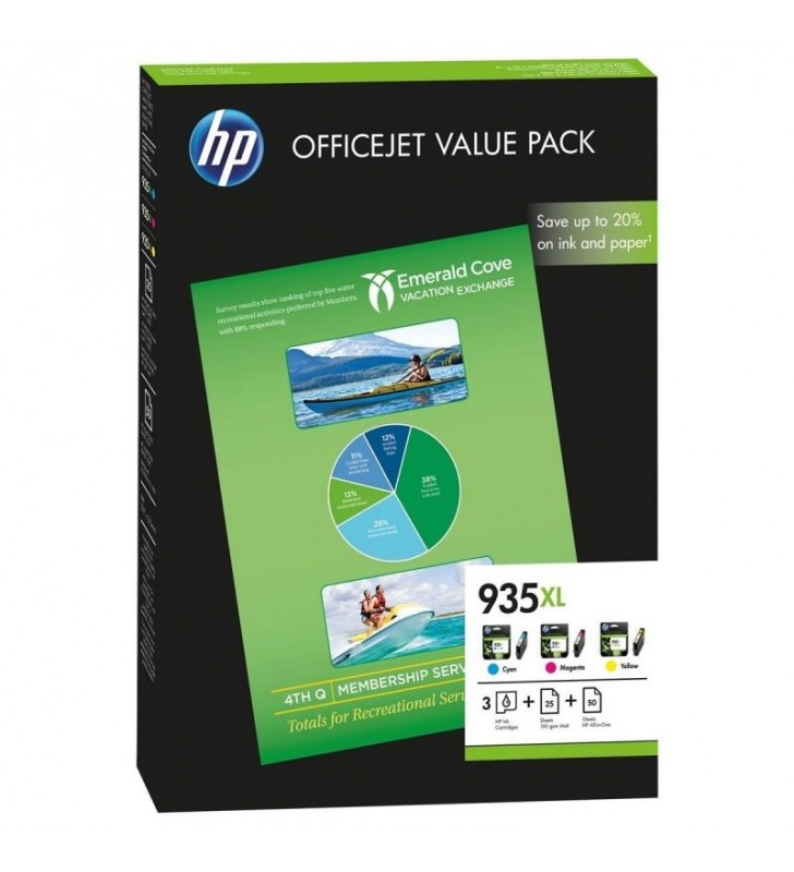 PACK HP 935XL OFFICE - 3 CARTUCHOS TINTA (1X CIAN - 1X MAGENTA - 1X AMARILLO) - 50 HOJAS HP ALL-IN-ONE/A4 - 25 HOJAS PAPEL MATE
