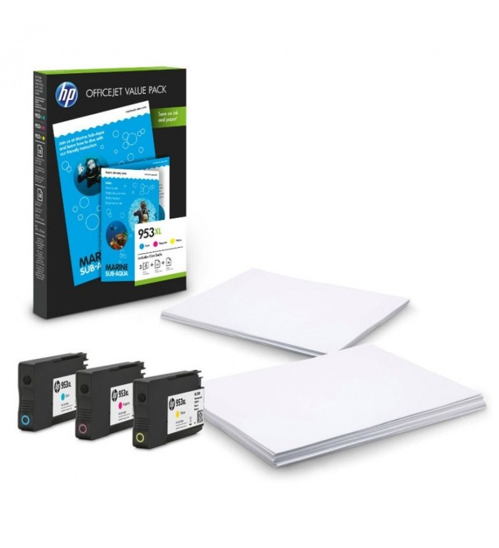 PACK HP 953XL OFFICE - 3 CARTUCHOS TINTA (1X CIAN - 1X MAGENTA - 1X AMARILLO) - 50 HOJAS HP ALL-IN-ONE/A4 - 25 HOJAS PAPEL MATE