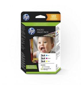 PACK HP T9D88EE - 3 CARTUCHOS Nº364 (CIAN/MAGENTA/AMARILLO) + 50 HOJAS PAPEL FOTOGRÁFICO 10*15CM