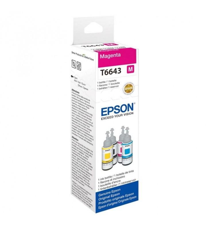 BOTELLA TINTA MAGENTA EPSON T6643 - 70ML - COMPATIBLE CON ECOTANK ET-14000 / ET-2500 / ET-2550 / ET-4500 / ET-4550 / L355 / L555
