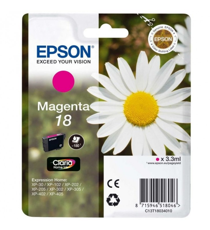 CARTUCHO TINTA MAGENTA EPSON CLARIA 18 - 3.3ML - MARGARITA - COMPATIBLE SEGUN ESPECIFICACIONES
