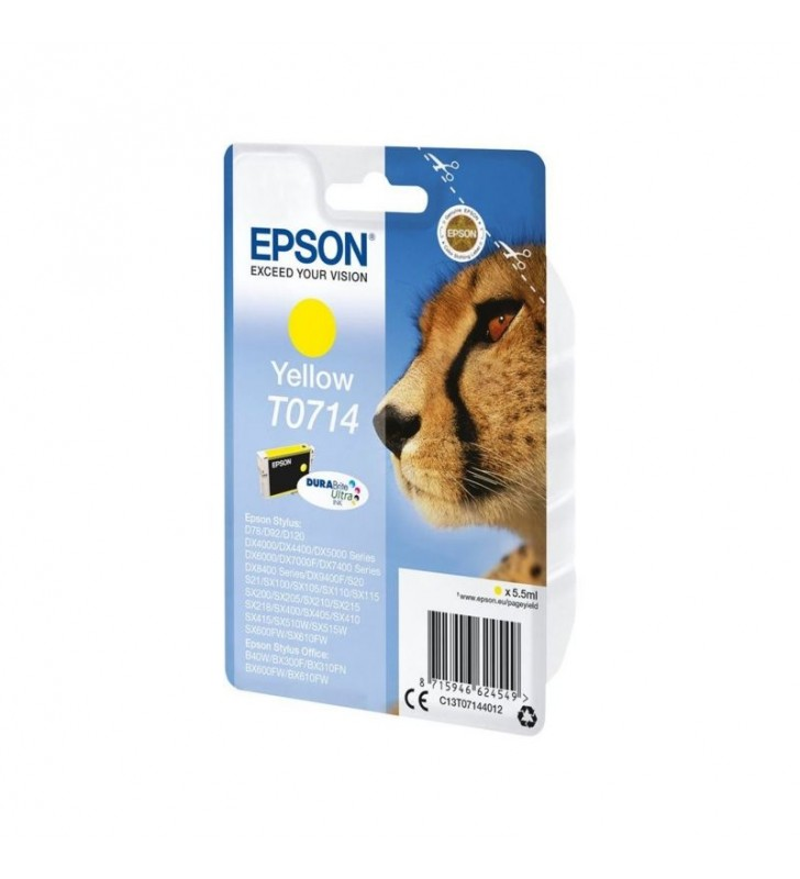 CARTUCHO TINTA AMARILLO EPSON T0714 - 5.5 ML - GUEPARDO - COMPATIBLE SEGUN ESPECIFICACIONES