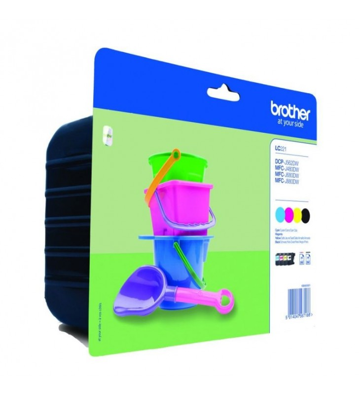 PACK 4 CARTUCHOS BROTHER LC221 - NEGRO - CIAN - MAGENTA - AMARILLO - COMPATIBLE SEGÚN ESPECIFICACIONES