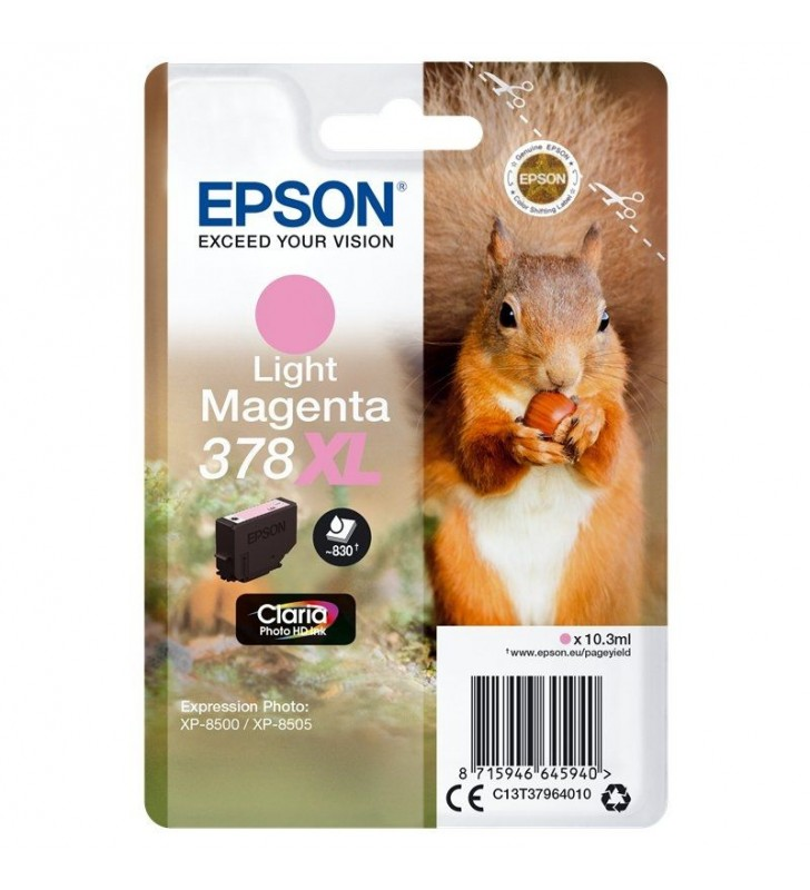 CARTUCHO TINTA MAGENTA CLARO EPSON 378XL CLARIA PHOTO HD - 10.3ML - ARDILLA - COMPATIBLE SEGÚN ESPECIFICACIONES