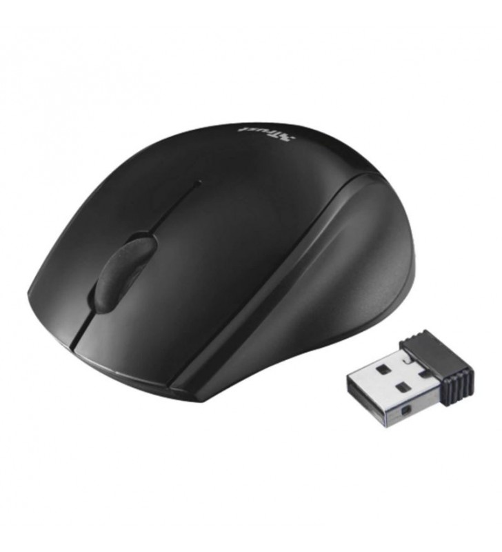 RATÓN INALÁMBRICO TRUST ONI BLACK - ALCANCE 8M - 1200 DPI - MICRO RECEPTOR USB - APTO DIESTROS Y ZURDOS - 1X AAA - 21048