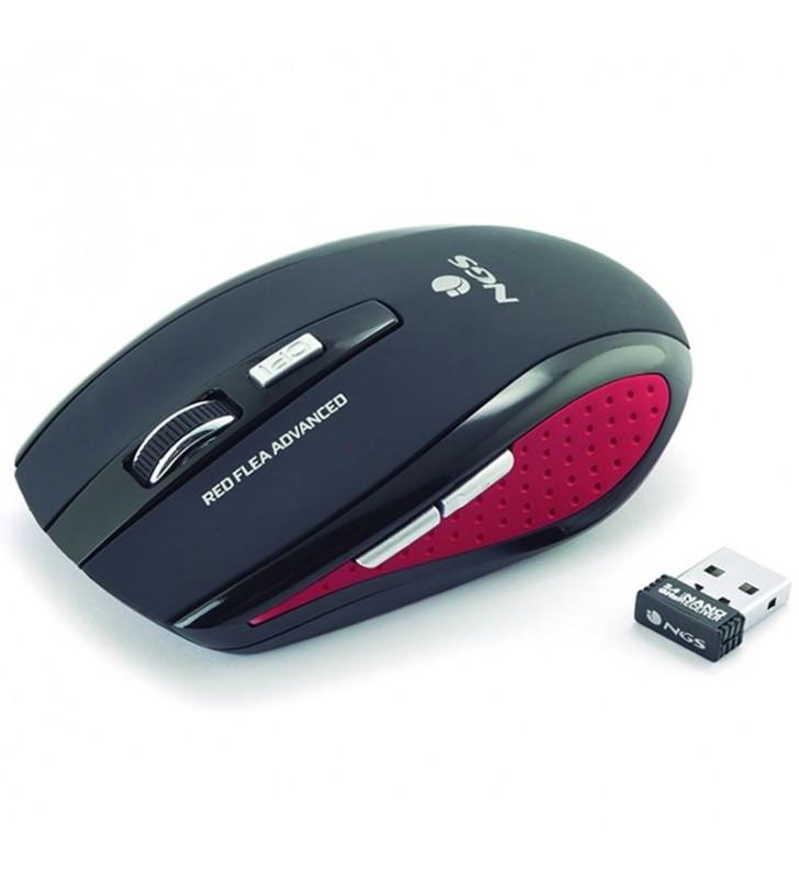 RATÓN MINI ÓPTICO INALÁMBRICO NGS RED FLEA ADVANCED - 800/1600 DPI - 2.4GHZ - 5 PULSADORES - RECEPTOR NANO USB - NEGRO / ROJO