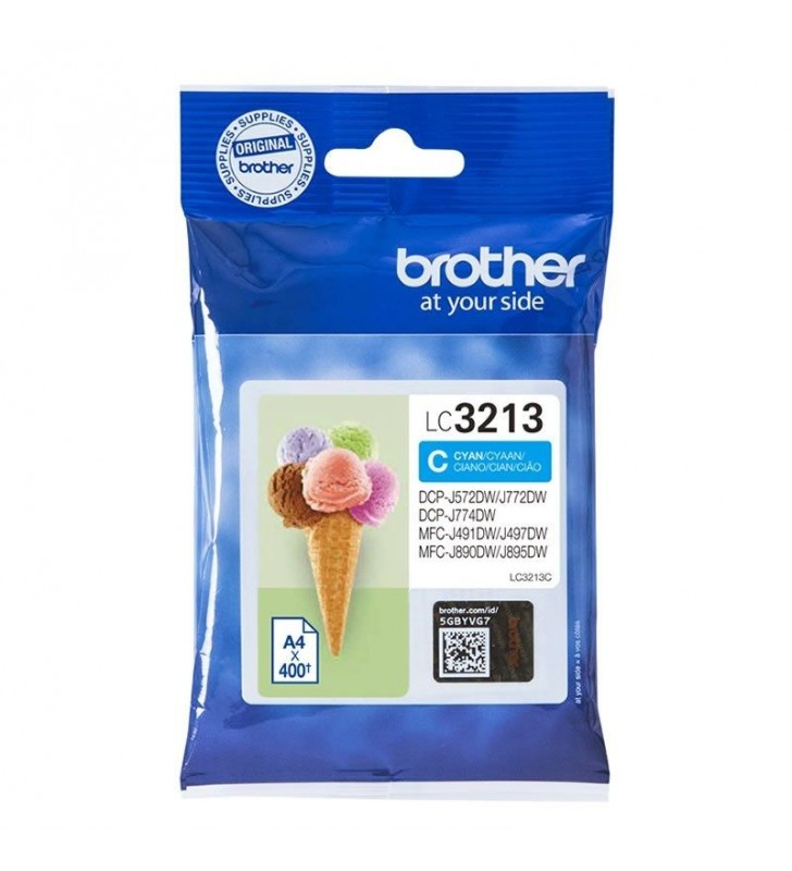 CARTUCHO DE TINTA CIAN BROTHER LC3213C - HASTA 400PAG - COMPATIBLE SEGÚN ESPECIFICACIONES