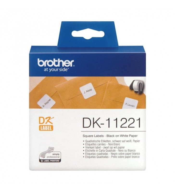 ETIQUETAS PRECORTADAS TÉRMICAS BROTHER DK11221 - 23 X 23MM - PARA 1000 ETIQUETAS - COLOR BLANCO - COMPATIBLIDAD SEGÚN CARACTERÍS