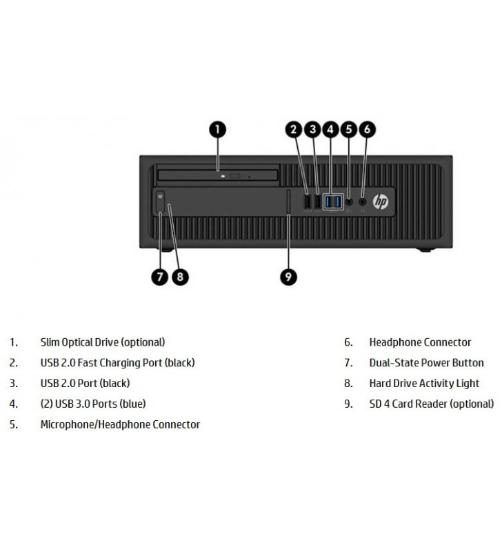 HP HP ELITEDESK 800 G2 INTEL CORE I5-6500 8GB SSD 256GB DVD SFF WIN 10 PROF. 64BIT OCASION