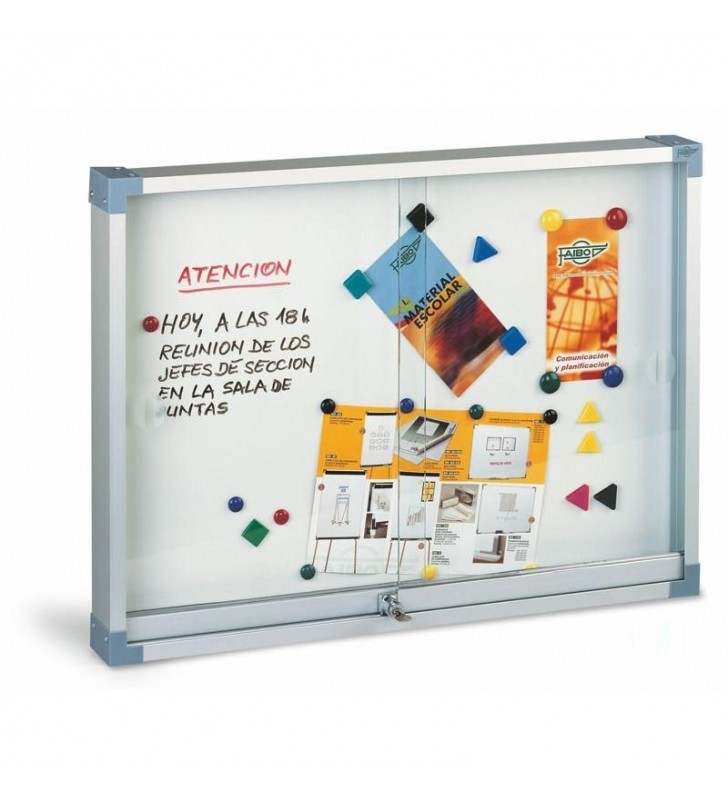 Vitrina metalica blanca puerta de cristal 80x100
