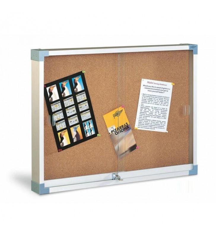 Vitrina superficie de corcho puerta de cristal 60x80