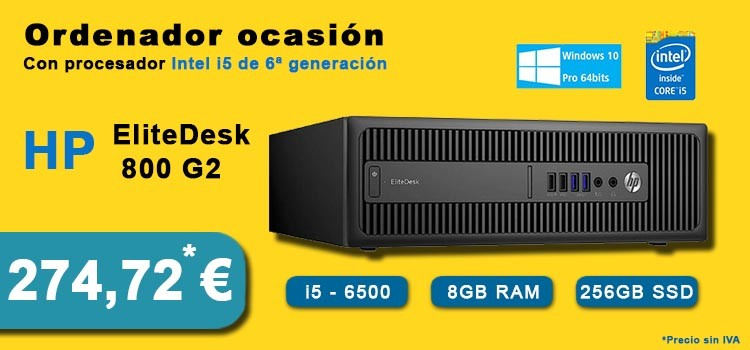 HP ELITEDESK 800 G2 INTEL CORE I5-6500 8GB SSD 256GB DVD SFF WIN 10 PROF. 64BIT OCASION