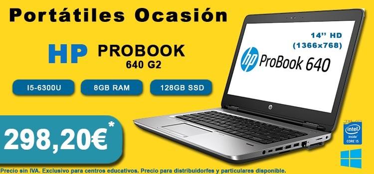 """PORTATIL HP PROBOOK 640 G2 14"""" I5-6300U 8GB SSD 128GB WIN 10 PRO EDUCACION OCASION"""